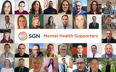 A collage featuring some of SGN's mental health supporters, who are colleagues based across the company