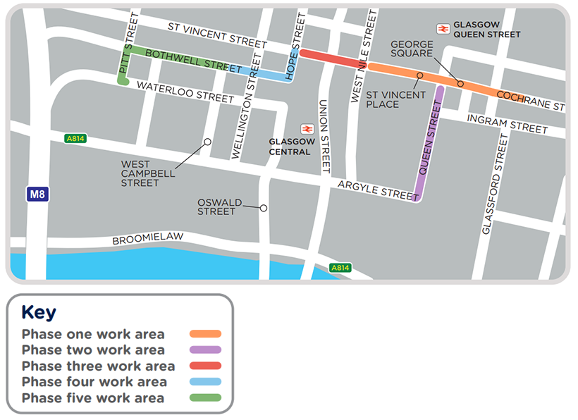 A map showing the phases of work in Glasgow City Centre. Phase 1 will be George Square. Phase 2 will be in Queen Street. Phase 3 will be on Cochrane Street on the junction between Hope Street and West Nile street. Phase 4 will be in Hope Street and Wellington Street. Phase 5 will be on Bothwell Street and Pitt's Street.
