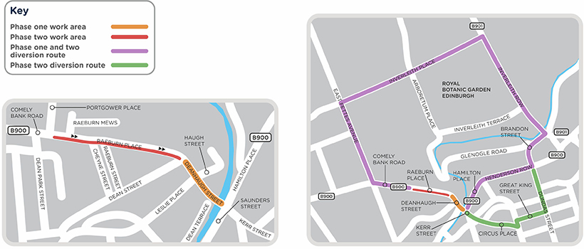 A map of diversions. Phase 1: Deanhaugh Street will be closed and a signed diversion route will be in place for motorists. Phase 2: Raeburn Place road will be closed to westbound traffic.
