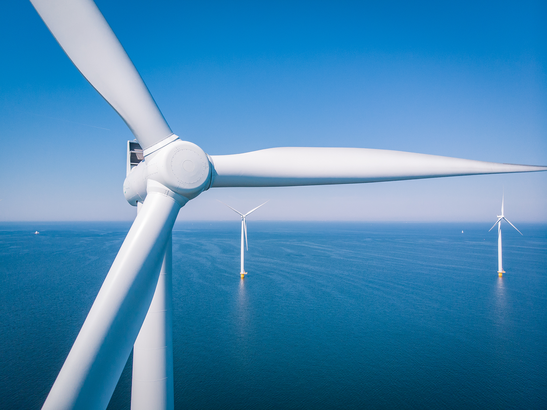 Turbines at an offshore wind farm.